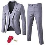 MY'S Herren 3-teiliges Slim Fit Anzug-Set, Ein-Knopf-Jacke, Weste, Hose mit Krawatte - Grau - L