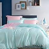 WAlAH Bedrucktes Bettwäsche-Set mit 60 Farben, Seidenschiebetages-Seide, 4-teilig, einfarbig, für Bett, Einzelbett, Sommer, hellgrün, Einzelbett
