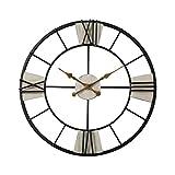 Seasy Wanduhr Vintage, 60cm XXL Groß Wanduhr, Metall Lautlos Wanduhr Ohne Tickgeräusche Dekorative für Küche Wohnzimmer Schlafzimmer