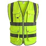 JKSafety Neun Taschen Unisex Hohe Sichtbarkeit Warnweste Reflektierende Weste Reißverschluss EN ISO 20471 Gelb (XX-Large)