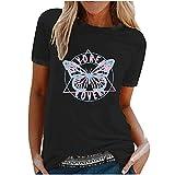 Damen-Oberteil, lässiger Druck, Rundhalsausschnitt, lockere, kurze Ärmel, T-Shirt für den Sommer, lockere T-Shirts für Frauen, H-schwarz, M