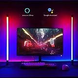 Alexa Led TV Hintergrundbeleuchtung (2er Pack) , RGB Gaming Lightbar, Dimmbar 16 Mio. Farben Nachttischlampe Leselampe Bett/Schlafzimmer/Wohnzimmer, Kompatibel mit Al exa & Google Assistant