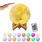 3D Mond Lampe,15 cm Mondlampe Nachtlampe, Dimmbar Mondlicht 16 RGB Farben USB Wiederaufladbare Fernbedienung & Touch-Steuerung Nachttischlampe Damengeschenk Nachtlicht für Kinderzimmer