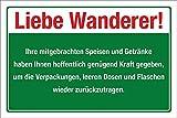 WERBEPUNKT. Schild Liebe Wanderer Verpackungen Müll entsorgen Hinweis 3 mm Alu-Verbund 600 x 400 mm