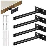 JIZZU 4Stück Metallstahl Regalhalterungen, Hochleistungstablarträger Unsichtbar Winkel Regal, Regalbodenträger für Verdeckte Holzreg