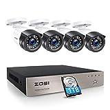 ZOSI Outdoor 1080P Überwachungskamera Set 8CH H.265+ DVR mit 1TB Festplatte und 4X 1080P Außen Bullet Kamera CCTV System für Innen und Außen, 24M IR Nachtsicht