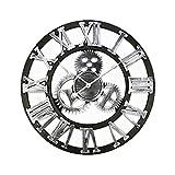 40/45 / 50 cm 3D Wanduhr große/hölzerne/Weinlese Wanduhren stumm/antike große wanduhren wohnkultur für Wohnzimmer (Color : D, Sheet Size : Wall Clock 40cm Dia.)