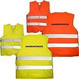 Nashville print factory 50 x Warnweste Bedruckt - Brandschutzhelfer - Sicherheitsweste EN ISO 20471 (Neon Orange)