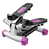 KHDJ 2In1 Stepper Mit Power Ropes Drehstepper & Sidestepper Für Anfänger & Fortgeschrittene, Up-Down-Stepper Mit Multifunktions-Display, Hometrainer Widerstand,Rosa
