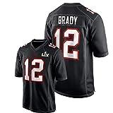 Tǒm Brǎdy Herren American Football Trikot,# 12 Buccǎneers Youth Atmungsaktive Kurzarm Black Bound Game Fashion Jersey XXL