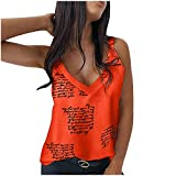 XUNN Damen Tops Mode Sexy Ärmellose Weste V-Ausschnitt Bedruckte T-Shirt Tanktop Shirt Blouses Shirt Frauen Oberteil