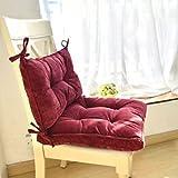 SWECOMZE Sitzkissen mit Rücken,Gartenstuhl Polster Sitzkissen,Niedriglehner Auflage Stuhlauflage für Niederlehner Stuhlauflage Sitzpolster Garten (Rot)