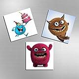 3tlg   Kühlschrankmagnete   Zeichentrickfiguren   Die Monster AG   Dekoartikel   Blau & Rosa & Braun   MAG-1104