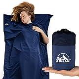 ARNAKI® Premium Hüttenschlafsack – [90] x [220] cm – 100% Mikrofaser – Schlafsack im Netzbeutel – Navy Blau – Reiseschlafsack (90x220cm)