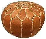 MAISON ANDALUZ Marokkanischer Leder-Sitzsack, hellbraun, mit heller Stickerei, gefüllt, 55 x 55 x 30 cm, schwer