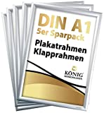 5 Plakatrahmen DIN A1 | 25mm Aluminium Profil, Silber | inkl. entspiegelter Schutzscheibe und Befestigungsmaterial | Alu Klapprahmen Wechselrahmen Posterrahmen | 5er Sparpack | Dreifke®