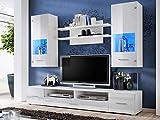 KRYSPOL Wohnwand Reno Anbauwand, Wohnzimmer-Set, Modern Design (Weiß Matt/Weiß Glanz)
