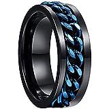 NUNCAD Wolfram Ringe Schwarz + Blau Unisex Spinner Ring mit drehbare Ketten Inlay als Freundschaftsringe Partnerringe Verlobungsringe und Jahrestag Ringe Größe 65 (25)