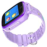 Shjjjyp Smartwatch für Kinder, Jungen, wasserdicht, mit lautem Wecker, Violett