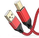 Snowkids USB-Druckerkabel, 3 m, USB 2.0, A-Stecker auf B-Stecker, Nylon, geflochten, 24 K vergoldet, kompatibel mit Canon, Epson, HP, Lexmark, Dell, Xerox und anderen USB-B-Geräten – Rot