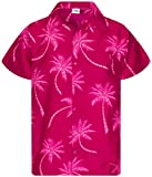 King Kameha Funky Hawaiihemd, Kurzarm, Palmshadow, Magentapink, L