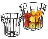 Metallkorb mit Henkel im 2er Set - ca. 27x24 / 21x20 cm - Obstkorb aus Metall mit Griff - Deko Obstschale schwarz Obst Korb Aufbewahrungskorb