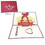 YUSWPX 5 stücke 3D popup Grußkarten mit Umschlag Laser Schnitt Postkarte für Geburtstag Weihnachten Valentinstag Tag Party Hochzeitsdekoration (Color : GD0007)