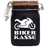 Spardose Biker Kasse Geld Geschenk Idee Schwarz L