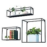 3er Set Wandregal Metall, Cube Regal im Industrie Design, Schweberegal Bücherregal Regalsysteme, Retro Hängeregal Wanddeko Quadrat Würfelregal