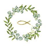 20 Servietten Goldener Fisch im Kranz als Tischdeko zur Taufe, Kommunion und Konfirmation 33x33