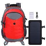 Alomejor Solarrucksack Outdoor Solar Charge Reiserucksack mit Solarpanel und USB Ladekabel zum Wandern Camping(Rot)