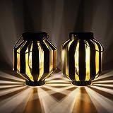 Gadgy Solarlampen für Außen Hängend   2 Stück   Schwarz/Gold Metal   Solar-Laternen mit LED-Glühbirne   Laterne für den Garten   Deko Lampen für drauß