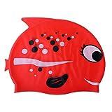 HomeDecTime Badekappe Pool Cute Cartoon Kinder Badekappe Wasserdicht Schützen Spaß Silikon Kleinkind Badekappe für Jungen Und Mädchen - Bobofish Rot