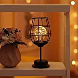 YQGOO 1 Pack Vintage Metallkäfig Tischlampe Batteriebetriebenes Nachtlicht, Akku-Lampe Pendelleuchte mit LED-Lampe für Hochzeiten, Partys, Patio, Veranstaltungen für drinnen/draußen (A)