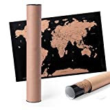 MKTOSASA - Kleine Weltkarte zum Rubbeln aus Laminiertem Papier 43x28,5cm. Beinhaltet Einen Schaber und Wird in Einer Pappschachtel im Eco-Design Präsentiert