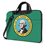 Laptop Umhängetasche Satchel Washington WA State Flags Stoßfest Bussiness Messenger Laptop Tasche Handtasche Schultertasche 15,6 Zoll