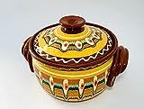 Tontopf, Bräter, Schmortopf mit Deckel, Güvec, Keramik, Handarbeit, bulgarische Tradition (5 Liter, orange)