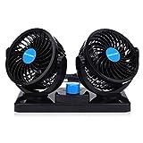Doppellüfter 12 Volt Ventilator,2 Geschwindigkeiten Einstellbar Auto Lüfter 360 Grad Manuelle Drehung mit Zigarettenanzünder Plug In.