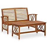 vidaXL Akazienholz Massiv Gartenmöbel Set 2-TLG. Lounge Bank Tisch Gartenset Sitzmöbel Sitzgruppe Gartenbank Beistelltisch Gartengarnitur