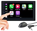 CREASONO Doppel DIN Radio: 2-DIN-Autoradio mit Freisprechfunktion, Apple CarPlay, 17,1-cm-Display (Carplay Radio)