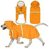 QUACOWW Dog Raincoat für Mittlere und Große Hunde Verstellbare wasserdichte Haustier-Regenjacke mit Leichten Reflektierenden Kapuzenpullis Sicherheits-Regenponcho-Mantel für Spaziergänge (Orange)