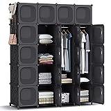 HOMIDEC Kleiderschrank, Tragbarer Regalsystem,20 Würfel Schrank aus Kunststoff mit 3 Kleiderstange, Schlafzimmerschrank kleiderschrank schwarz für Schlafzimmer, 180 x 142 x 45cm