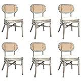vidaXL 6X Esszimmerstuhl Küchenstuhl Polsterstuhl Wohnzimmerstuhl Essstuhl Rattanstuhl Stuhl Set Stühle Esszimmerstühle Grau Leinenbezug