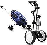 GPWDSN Golf Trolley Würfel Kompakt zusammenklappbar Ergonomischer Griff Push Golf Trolley 3 Rad Golf Push Cart Mit Scorekartenhalter Getränkehalter Ballhalter Leicht zu öffnen Schließen (Silbe