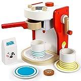 Kaffeemaschine Kinder Holz Rollenspiel Holzspielzeug Küche Haushaltsgeräte mit Tasse, Milchbox und Kaffeepad Pädagogisches Spielzeug ab 3 4 5 6 Jahren Junge Mädchen(14.3*12.3*18.5cm)