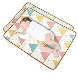 AMBH 2 x Baby-Wickelunterlagen, wasserdicht, waschbar, wiederverwendbar, Eisseide-Flanell, doppelseitig, ideal für Babys (Größe: 70 x 110 cm)