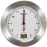 Bresser Bad Wanduhr MyTime Bath mit Temperaturanzeige und Funkuhr mit gebürstetem Aluminiumrahmen, Saugnäpfen und Standfuß für Tischmontage, Weiß/Silber