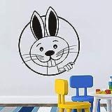 Wandaufkleber 39X44 cm Zwei große Zähne Schöne Kaninchen Wandaufkleber DIY Abnehmbare Vinylkleber Wandtattoos für Kinderzimmer Kinderzimmer Home D