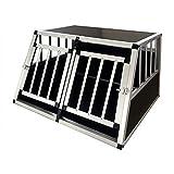Gegaden Hunde Transport Box mit 2 Türen Alu Hunde Box für den Transport MDF Platten Aluminium Autotransportbox Autobox Hunde Reisebox Gitterbox Welpen Transportbox 89*69*50cm…