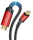 JSAUX 4K Mini DisplayPort auf HDMI-Kabel, 2 m Mini DP (Thunderbolt) auf HDMI-Kabel, geflochtenes Nylon, kompatibel für Apple MacBook/Pro, iMac, Microsoft Surface Pro/Dock, Monitor, Projektor – Rot